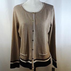 Karen Scott Resort Striped Cardigan Sweater